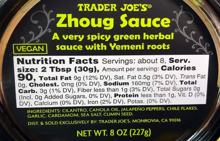 zhoug sauce nutrition facts and ingredients label