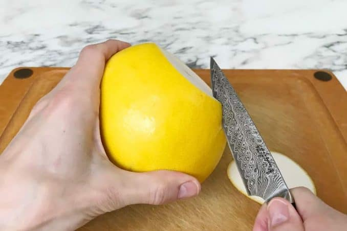 how to cut open a pomelo with knife