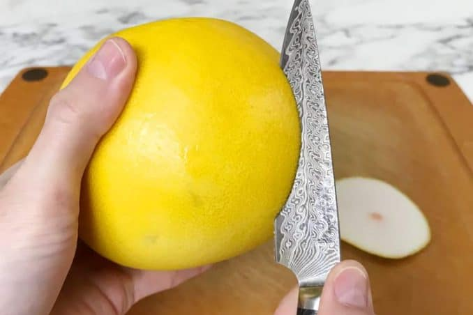 cutting through the skin in circular motion