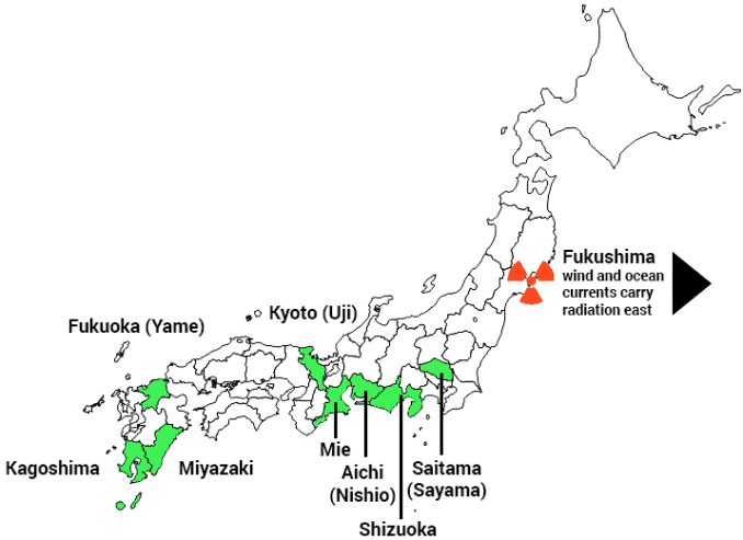 map showing distances of green tea farms relative to Fukushima