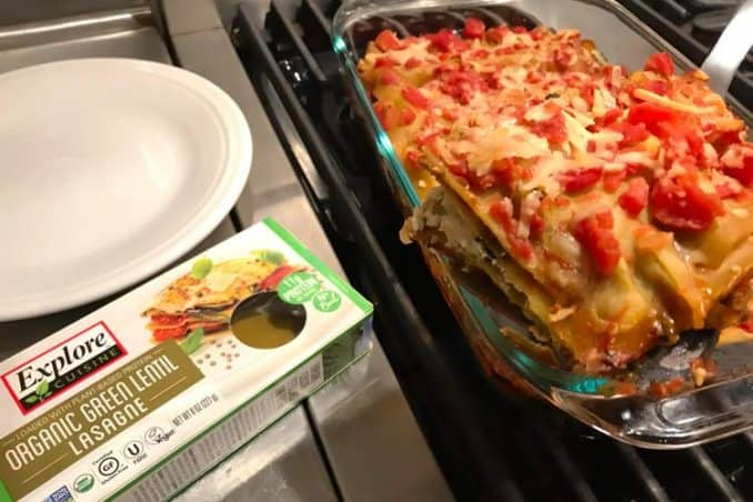 vegan lasagna made with gluten free sheets and non-dairy cheese