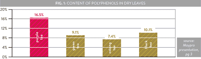 bar graph showing how much polyphenols different types of tea leaves contain