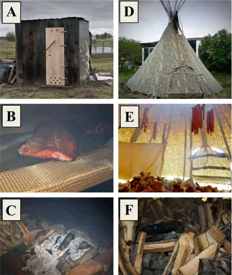 wood smoking shed and tent for making salmon