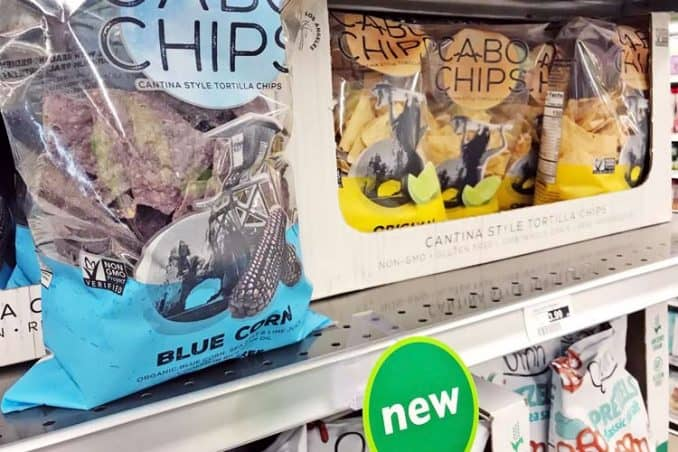 bags of Cabo tortilla chips made with blue and yellow corn at supermarket