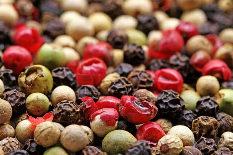 white, black, green, and red peppercorns