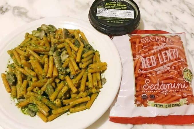 spicy dairy free pesto substitute with gluten free protein-rich pasta