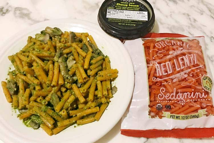 spicy dairy free pesto substitute with gluten free protein-rich pasta