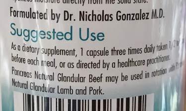 Dr. Nicholas Gonzalez glandular beef dosing instructions