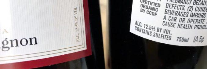 alcohol percentage in organic vs. regular Shaw wine
