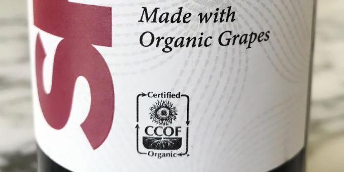 CCOF organic certification seal on Charles Shaw bottle