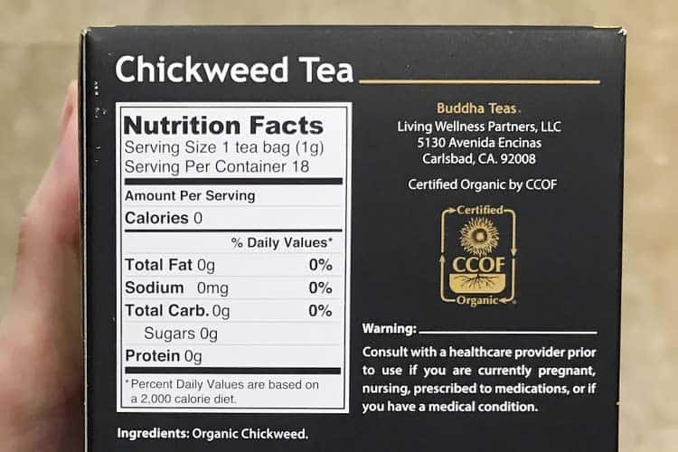 organic chickweed nutrition facts
