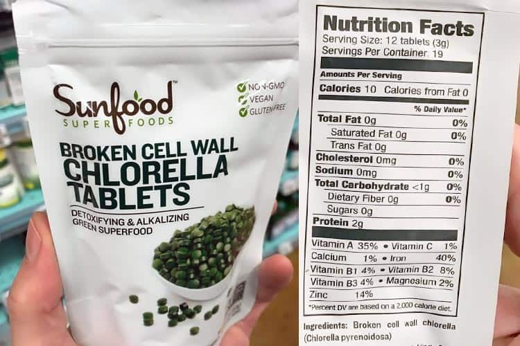 Sunfood broken cell wall chlorella tablets nutrition facts label