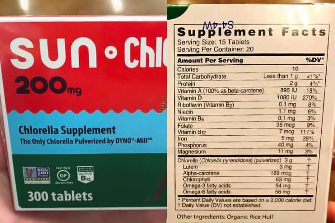 Sun Chlorella Dyno Mill supplement box and nutrition facts for calories, protein, vitamins and minerals