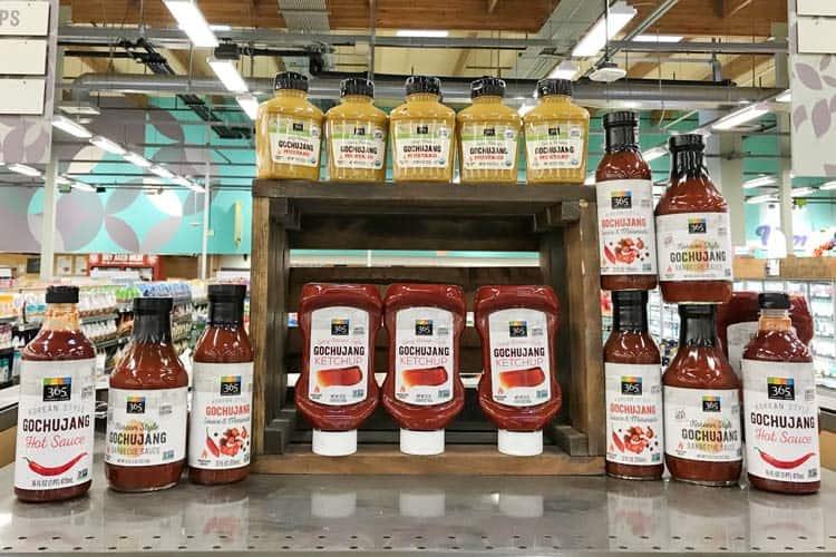 Whole Foods gochujang hot sauce, ketchup, mustard, and BBQ sauce