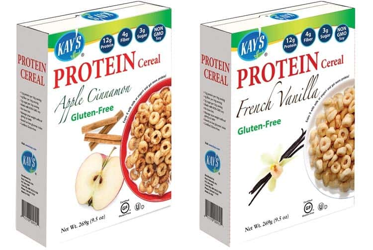 Kay's Natural protein cereal, apple cinnamon and French vanilla flavors