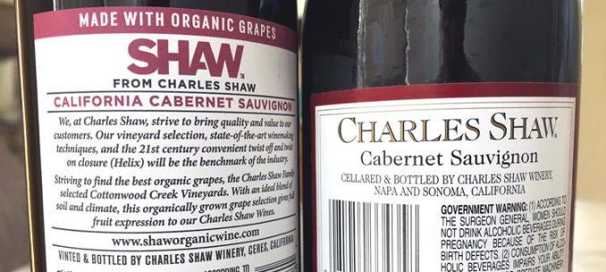 lables on organic Charles Shaw vs. Two Buck Chuck