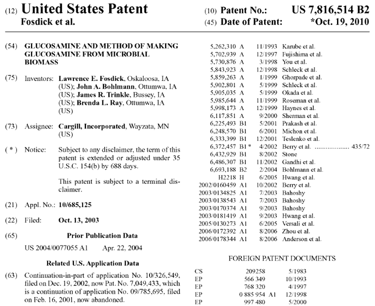 patent on how plant-based glucosamine is made and sources