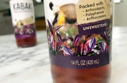 brewed purple tea in bottle