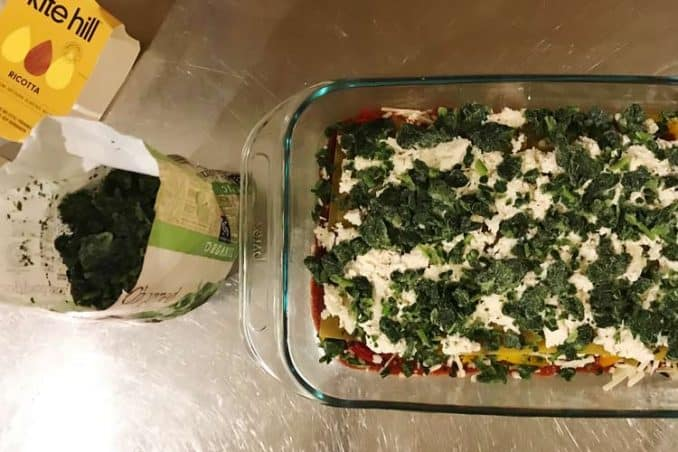 spinach and Kite Hill ricotta cheese lasagna