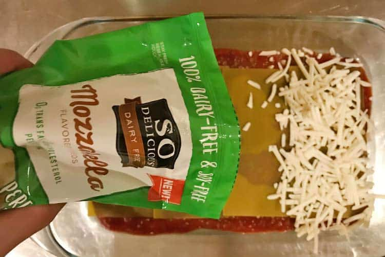 adding So Delicious mozzarella dairy free cheese shreds