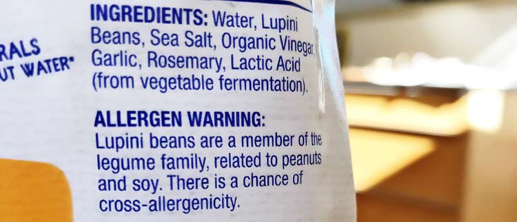 warning about allergic reactions from eating lupin