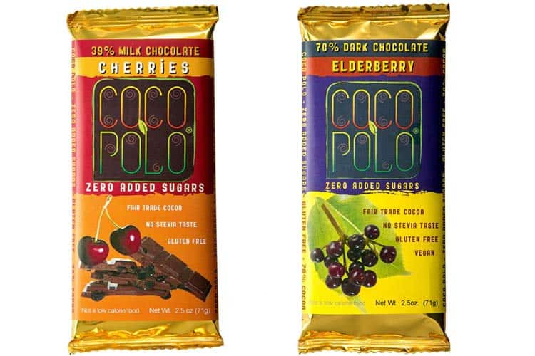 Coco Polo cherry milk chocolate and elderberry 70% dark