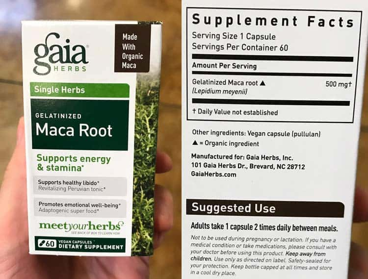 Gaia Herbs maca root 60 veggie caps bottle with supplement facts label and recommended dosage instructions