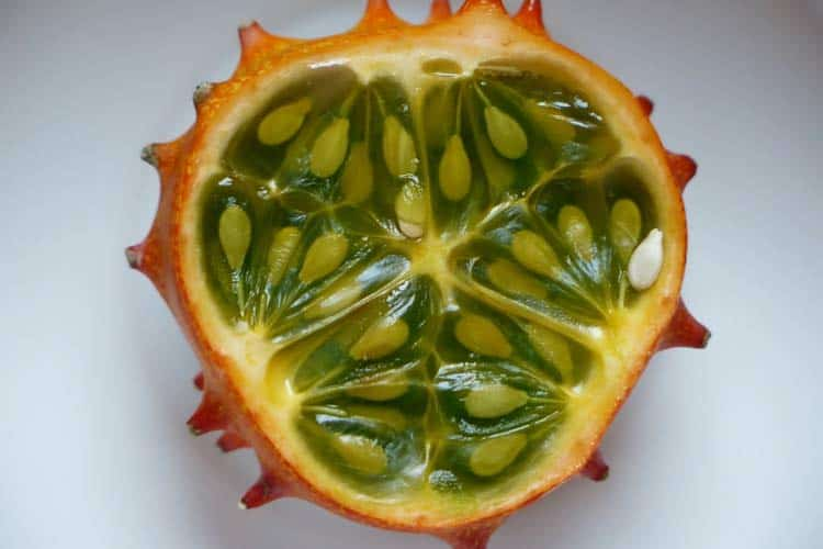 inside of a kiwano fruit