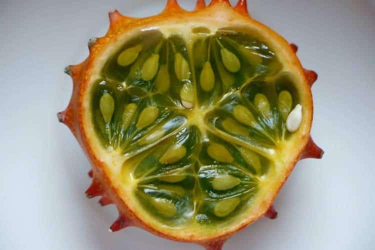 inside of a kiwano fruit