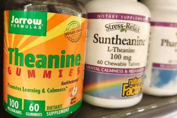 Jarrows Formulas theanine gummies and Stress-Relax Suntheanine chewable tablets