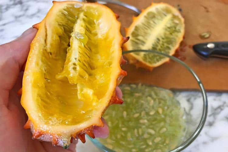 what the empty peel of the kiwano melon looks like