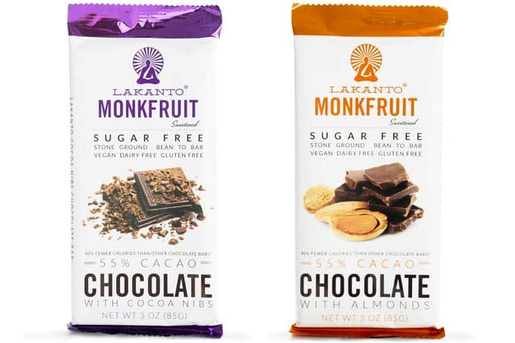 chocolate bars sweetened with monk fruit