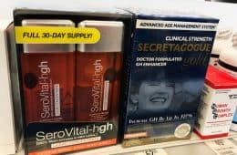 Secretagogue Gold and Serovital supplement for sale on store shelf