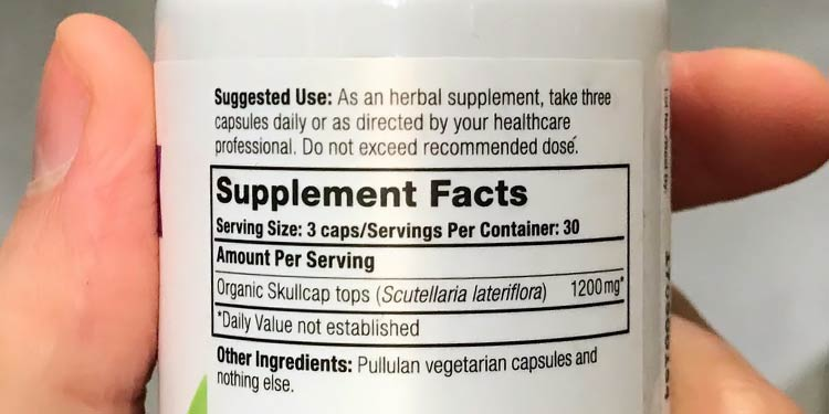 skullcap dosage instructions label