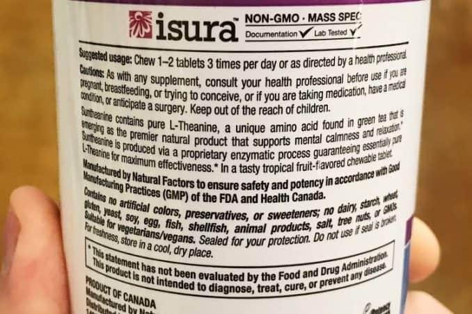 Natural Factors Suntheanine recommended dosage instructions label