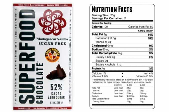 zero sugar chocolate bar with nutrition facts label