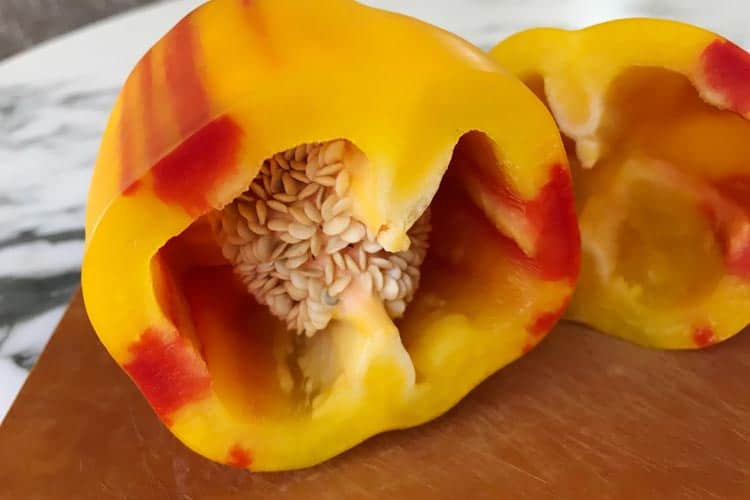 Aloha pepper sliced in half