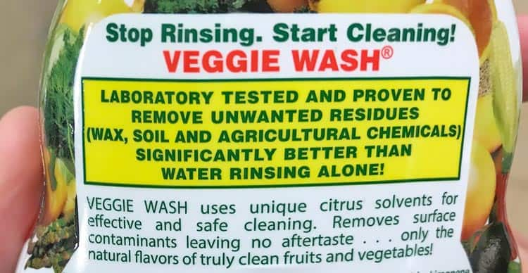 label about veggie wash being lab tested to work