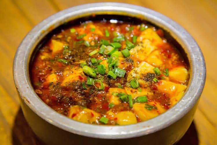 bowl of mapo tofu bean paste