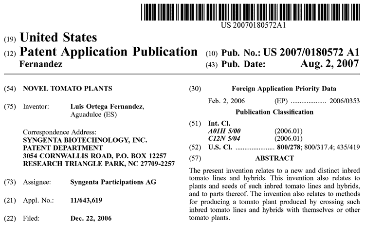Syngenta US patent filing for brown tomatoes