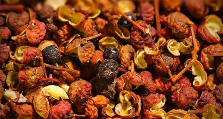 whole red Szechuan peppercorns