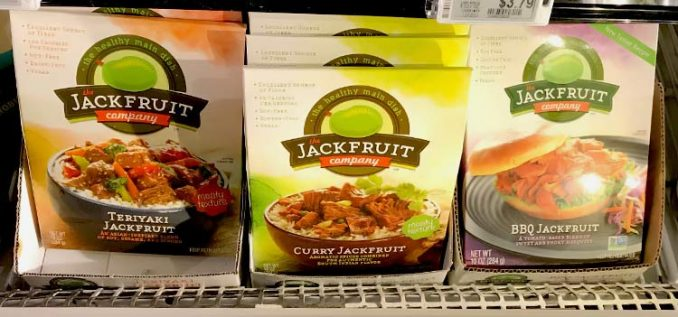teriyaki, curry, and barbecue-flavored jackfruit at grocery store