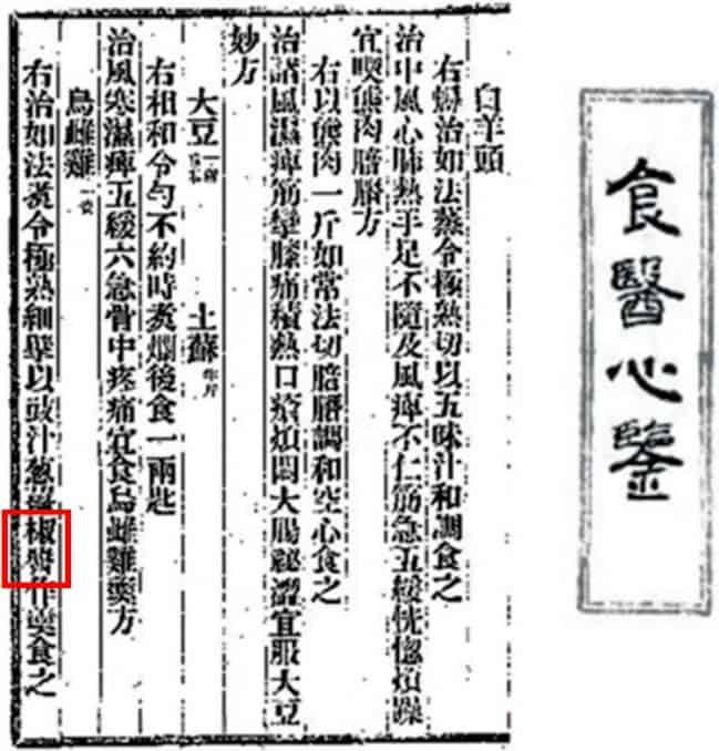 Chinese word for gochujang in ancient historical document