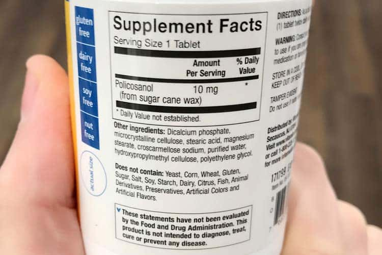 recommended dosage instructions on policosanol bottle