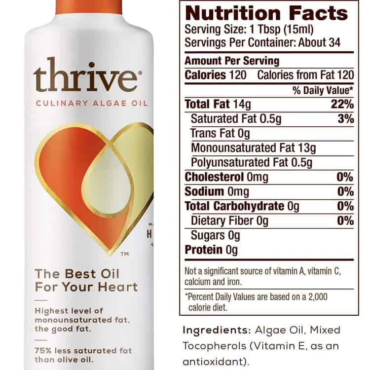 Thrive algae cooking oil nutrition facts label and ingredients