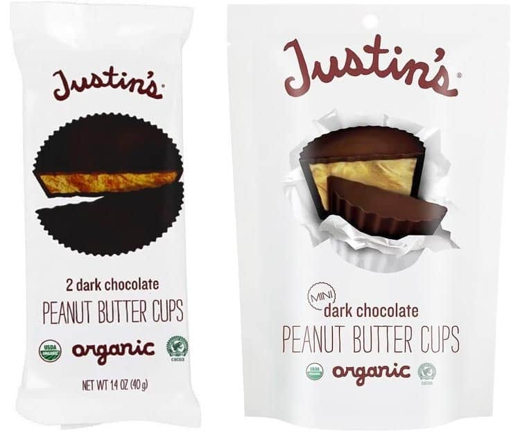Justin's vegan organic peanut butter cups and mini cups