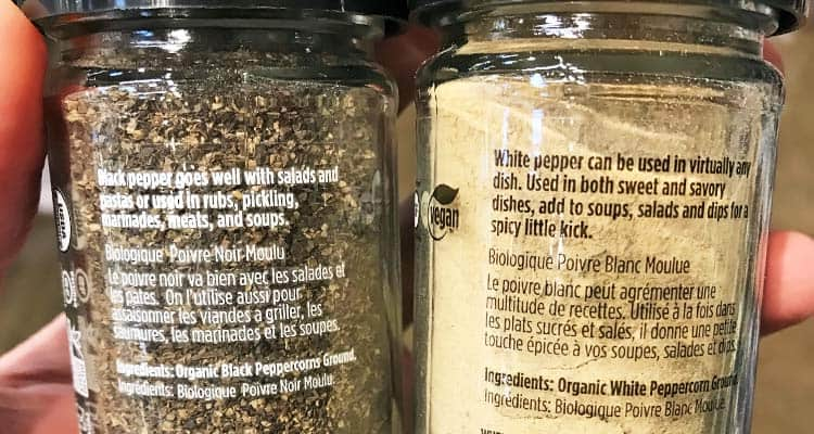 uses and flavors of white vs. black pepper