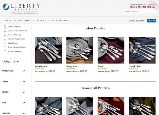 Made in USA silverware on Liberty's website