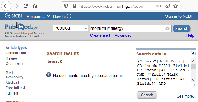 PubMed listing of monk fruit allergy medical literature