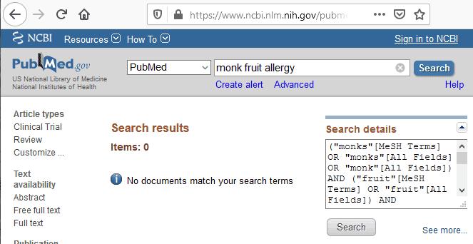 PubMed listing of monk fruit allergy medical literature